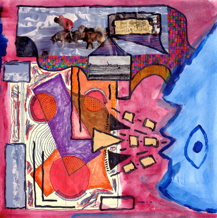 The image shows an avant garde collage of shapes and abstract faces with a color scheme of pink, orange, purple, and blue. The top of the image shows a pack of brown dogs with a man in a red coat riding one in the front.