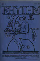 1913 cover of Rhythm with a blue background and a black outline of someone sitting on a circle
