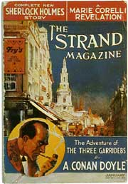1913 cover of The Strand Magazine featuring an illustration of a white building and a man smoking a pipe