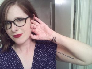 Post-tattoo selfie (PS. Guess what, Mom? I got a new tattoo!)