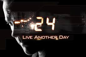 """A man's face in shadow with """"24: Live Another Day"""" in orange text"""