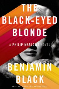 Cover of The Black-Eyed Blonde by Benjamin Black that has a partially blocked black and white image of a woman