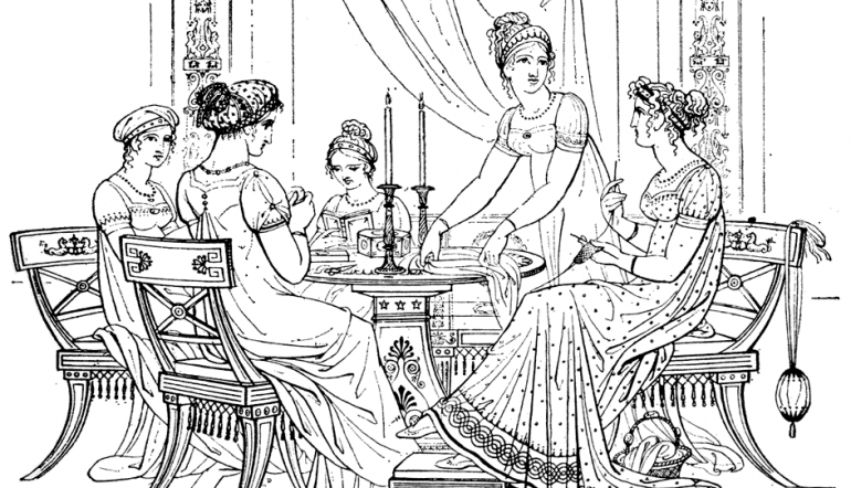 Drawing of young ladies at a traditional tea