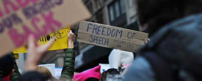"""Picture of a protest with people holding signs, one that reads """"Freedom of Speech includes the press"""""""