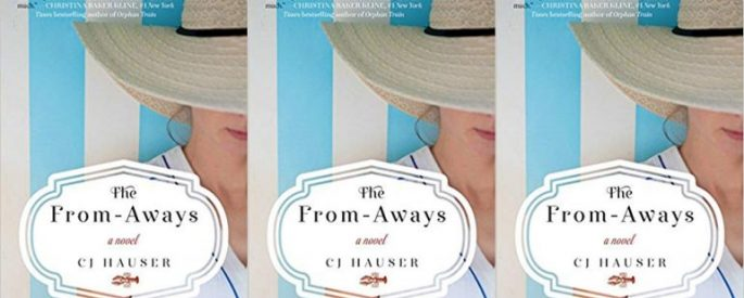 Book cover depicting a woman wearing a sunhat on a blue and white striped background