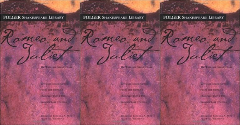 Cover of Romeo and Juliet with a pink and purple watercolor gradient background