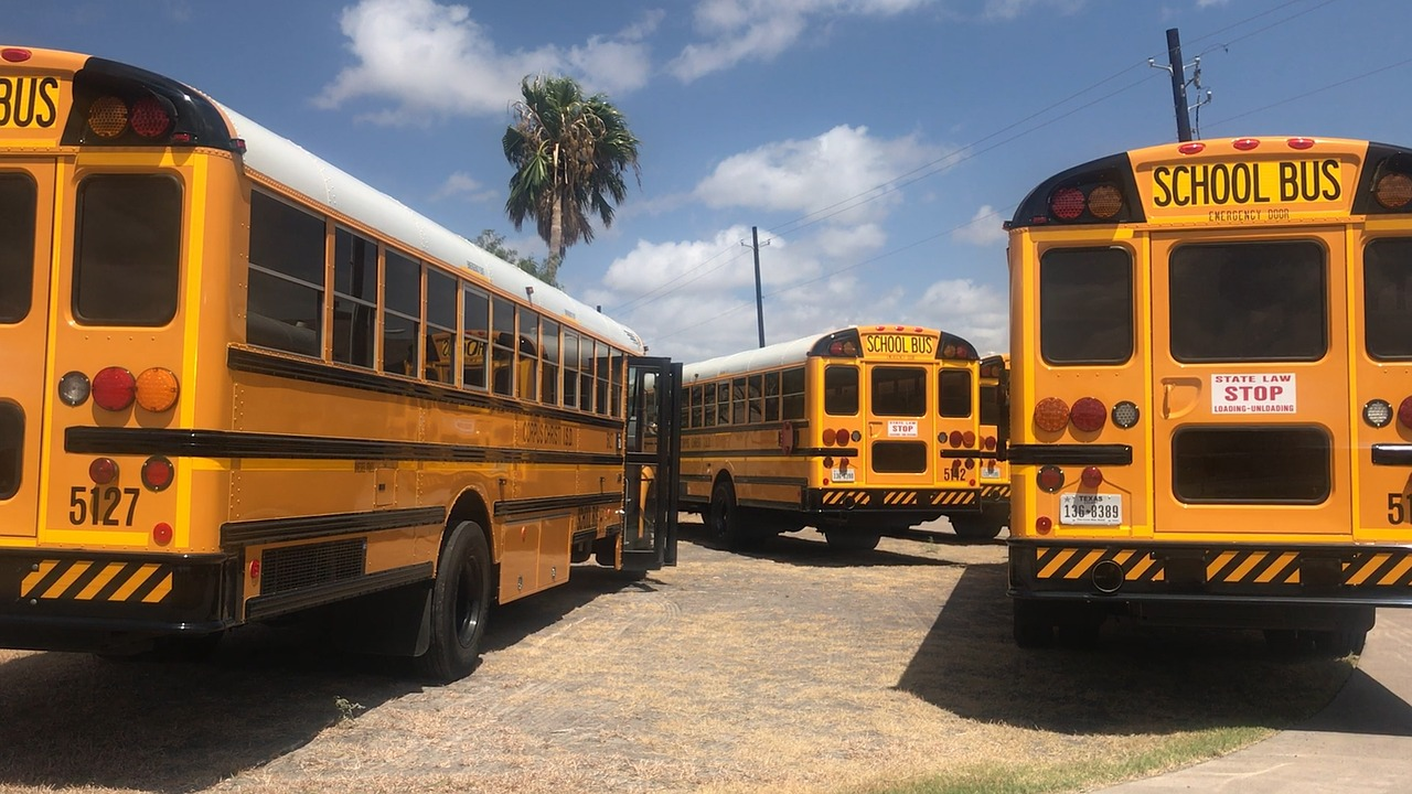 A parking lot of school buses.