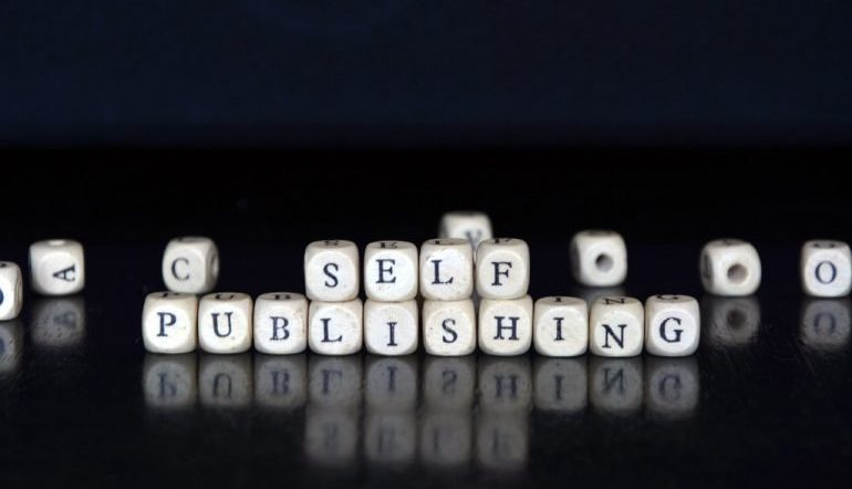 """Black background with white blocks spelling out """"Self-Publishing"""""""