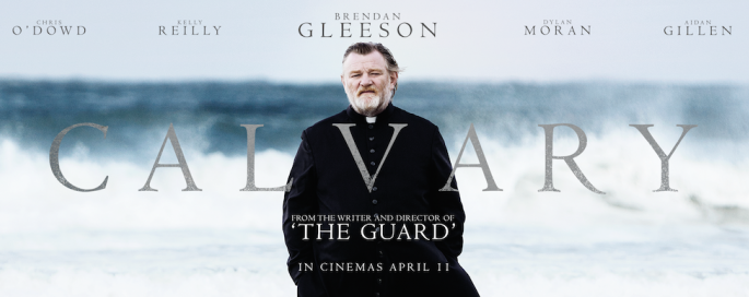 Movie poster for Calvary depicting a man dressed as a priest in front of the ocean