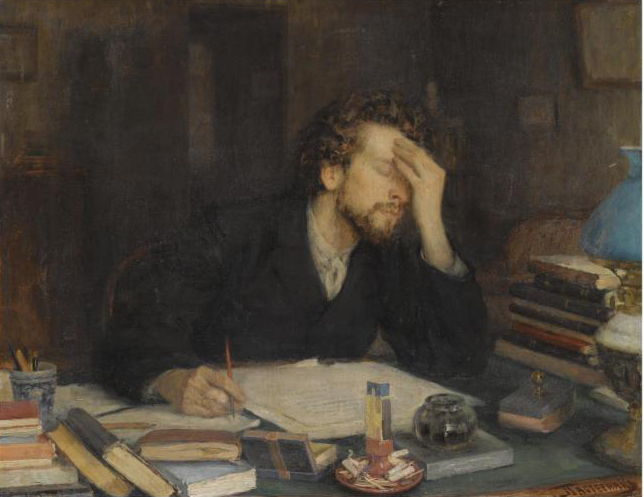 Painting of a writer holding his head in his hands in front of a crowded desk