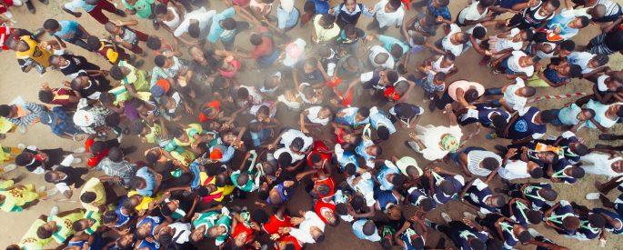Aerial photo of people walking.