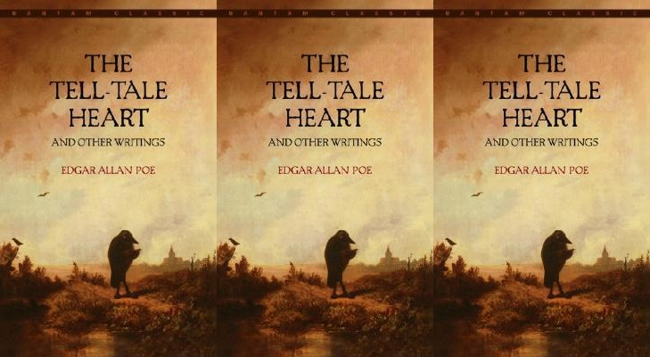 Cover of The Tell-Tale Heart by Edgar Allan Poe showing a crow alone on the ground