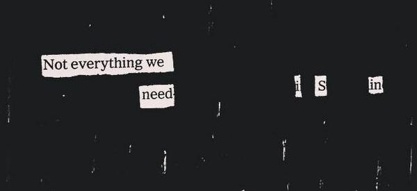 "A blackout poetry piece reading ""Reach out. Not everything we need is in ourselves"""