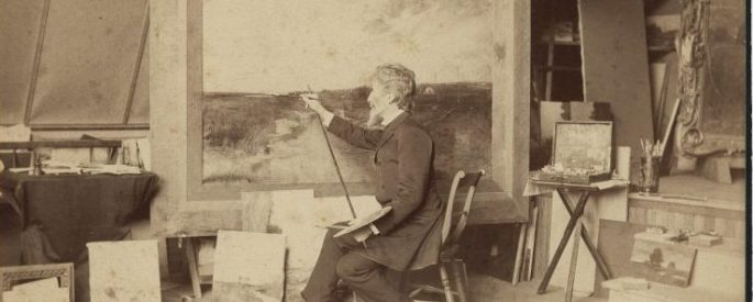 Vintage photo of Edward Gay at an easel painting