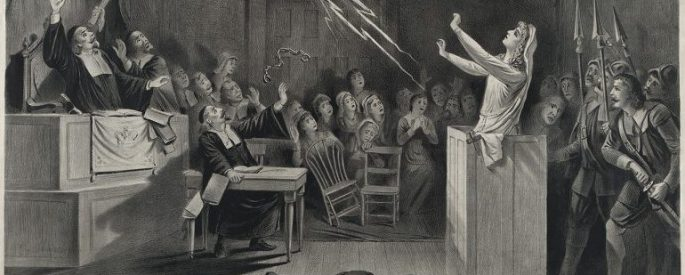 Salem Witch Trials in courtroom with woman summoning lightning from outside window