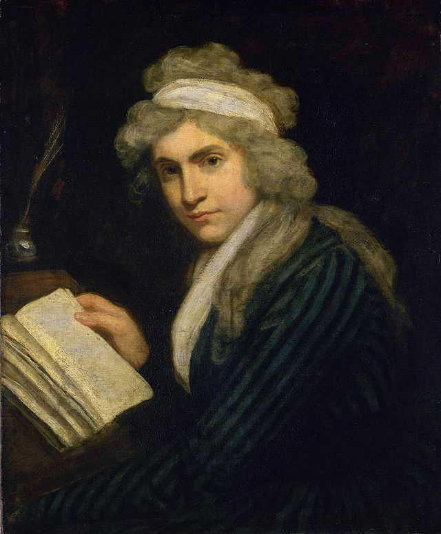 painted portrait of Mary Wollstonecraft sitting at a desk