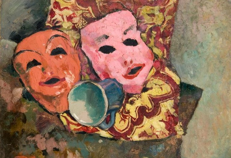 Painting of a pink and orange mask and a blue coffee mug against a brightly patterned cloth