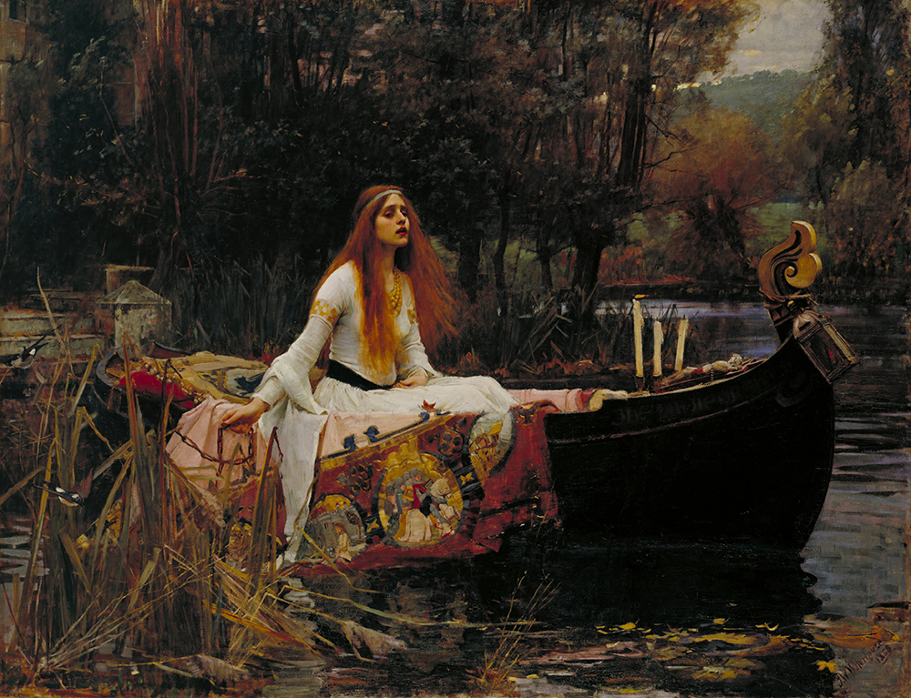 Painting of a woman riding a gondola through a body of water in a wooded area