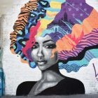 Woman with blue purple pink hair mural.