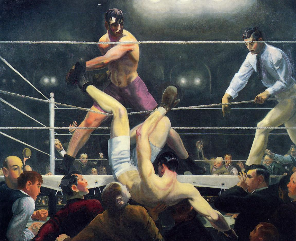 Painting of a boxer being thrown from the ring onto the spectators below