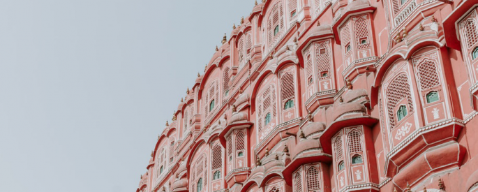 A pink building.