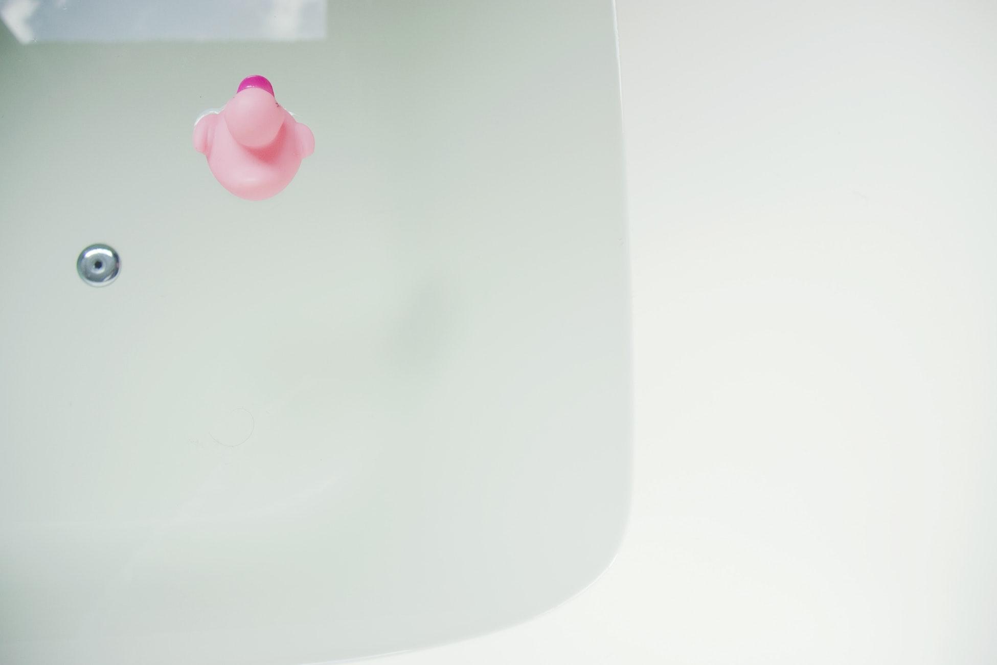 Pink rubber duck in bath tub.