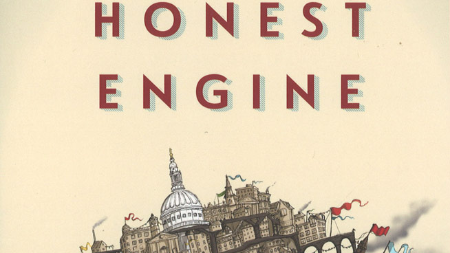 "Cover of ""Honest Engine"" with a drawing of brown buildings"