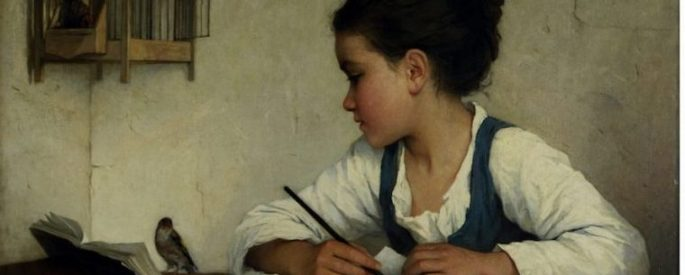 "Henriette Browne's ""A Girl Writing the Pet Goldfinch"""