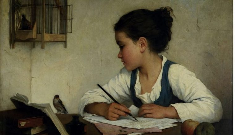 """Henriette Browne's """"A Girl Writing the Pet Goldfinch"""""""