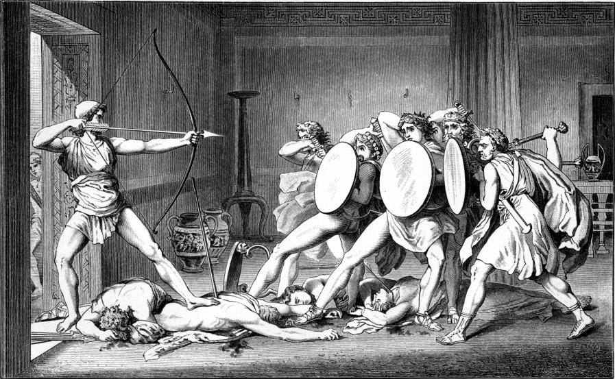 Black and white drawing of Odysseus aiming an arrow at his wife's suitors