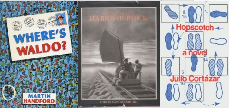 """Cover of """"Where's Waldo?"""" by Martin Handford, """"The Mysteries of Harris Burdick"""" by Chris Van Allberg, and """"Hopscotch"""" by Julio Cortazar"""
