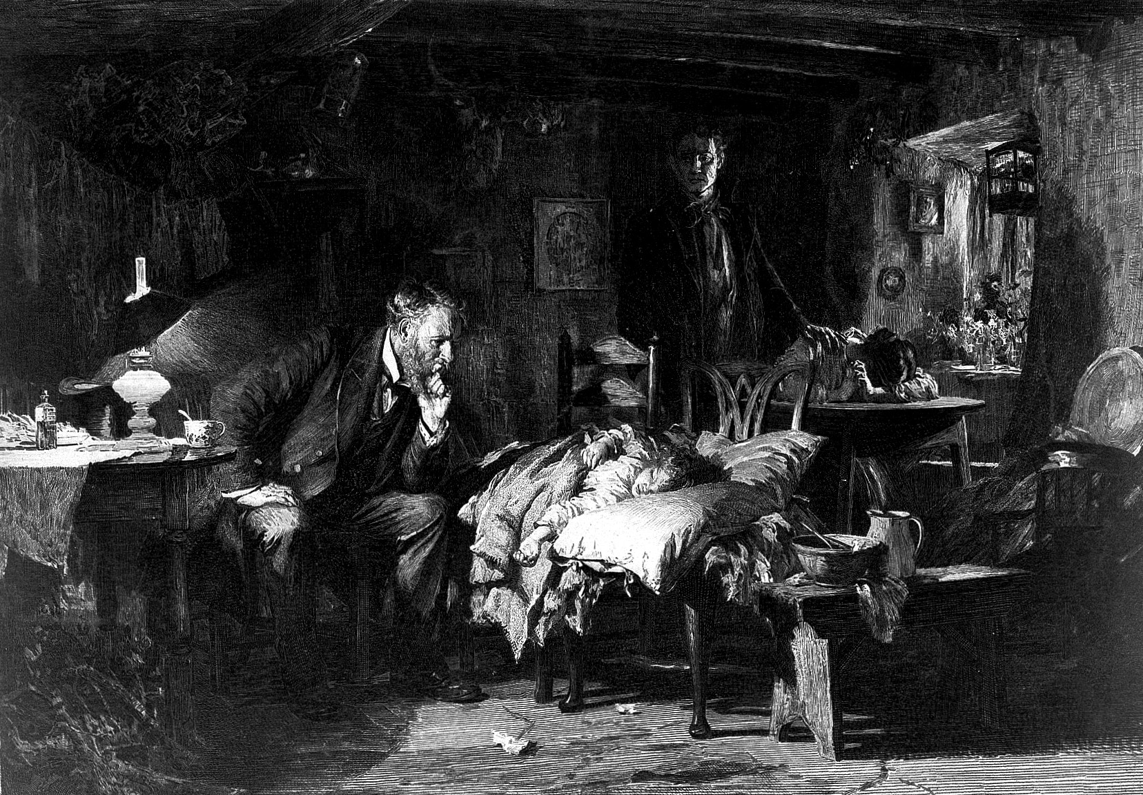 Black and white drawing of men in a very old, messy room, looking lost in thought as they look over a child lying on a bed