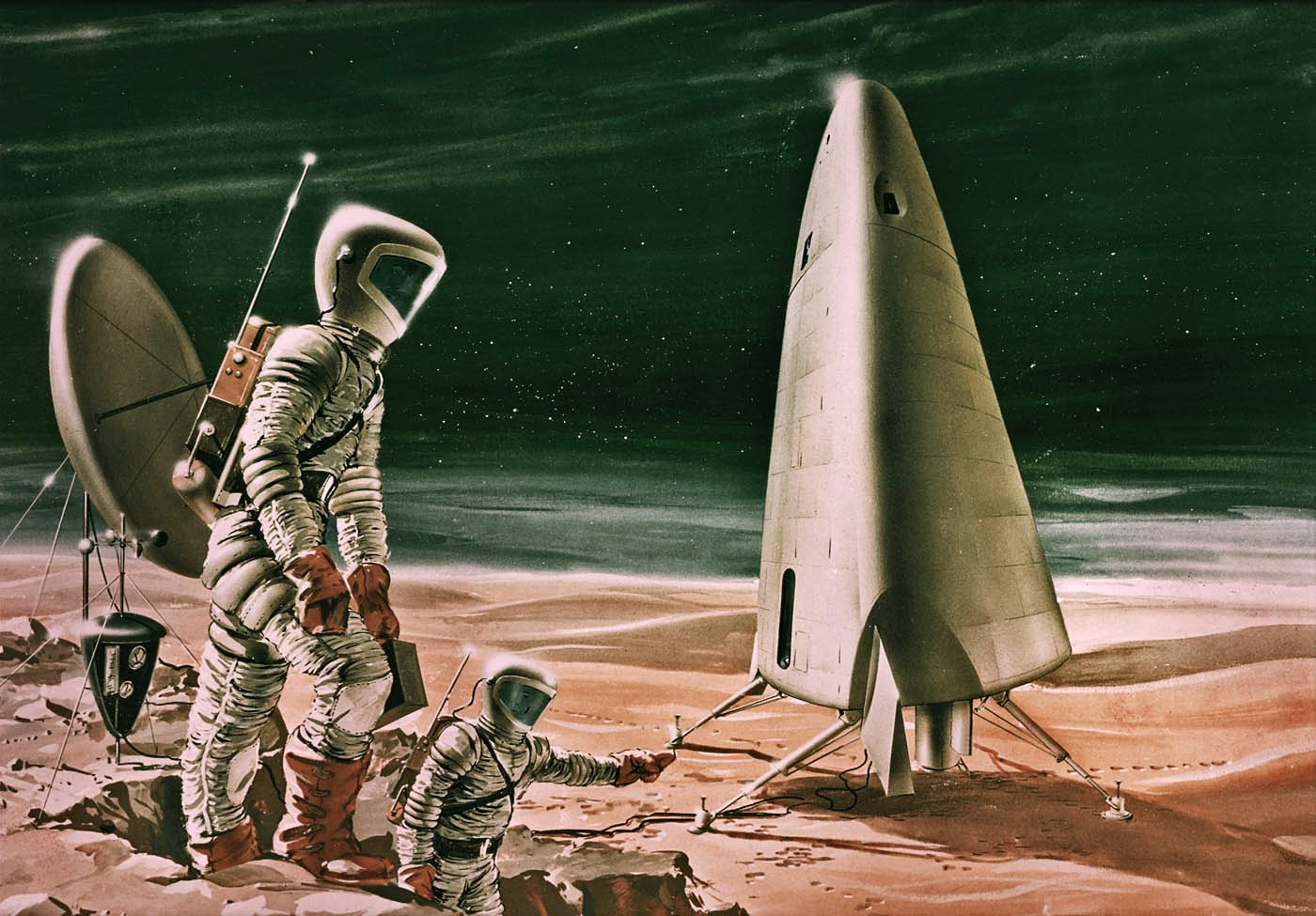 drawing of a hypothetical Mars exploration with human astronauts