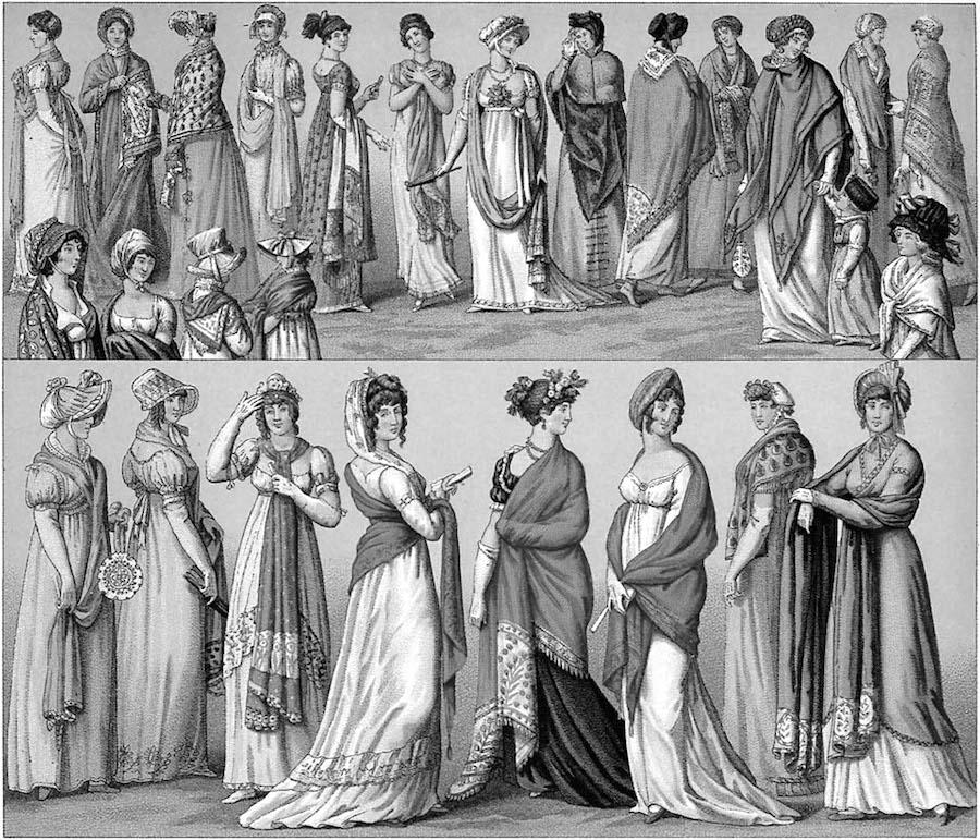 A black and white illustration of many women on regency era clothing.