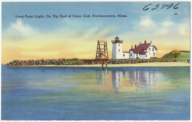 """Picture of a postcard with a painting of two people standing by a body of water. The postcard reads """"Long Point Light, On Tip End of Cape Cod, Provincetown, Mass."""""""
