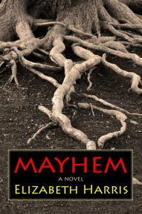 "A picture of the cover of the novel ""Mayhem"" by Elizabeth Harris"