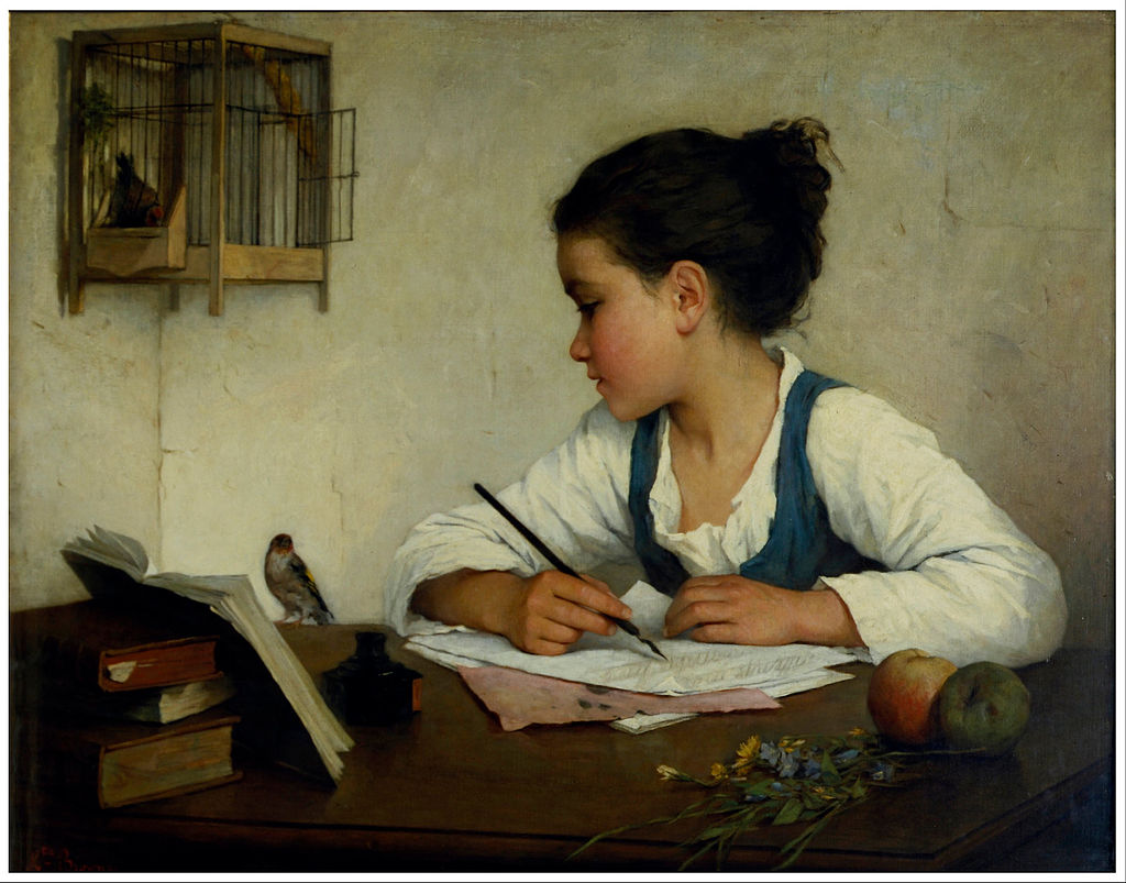"Painting of a girl writing and looking at her bird titled ""The Pet Goldfinch"""