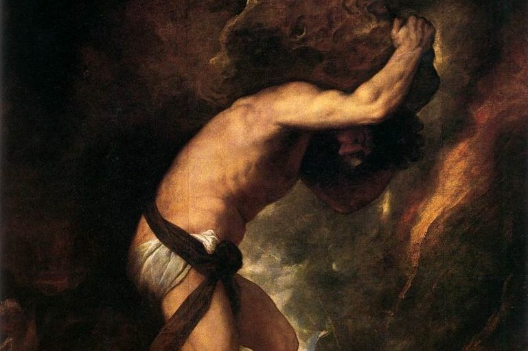 Sisyphus carrying a rock painting.
