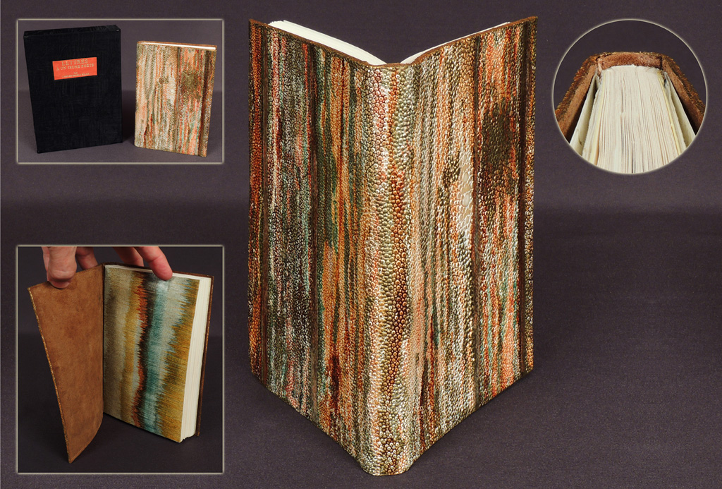 Exterior and interior pictures of a book bound by Odette Drapeau