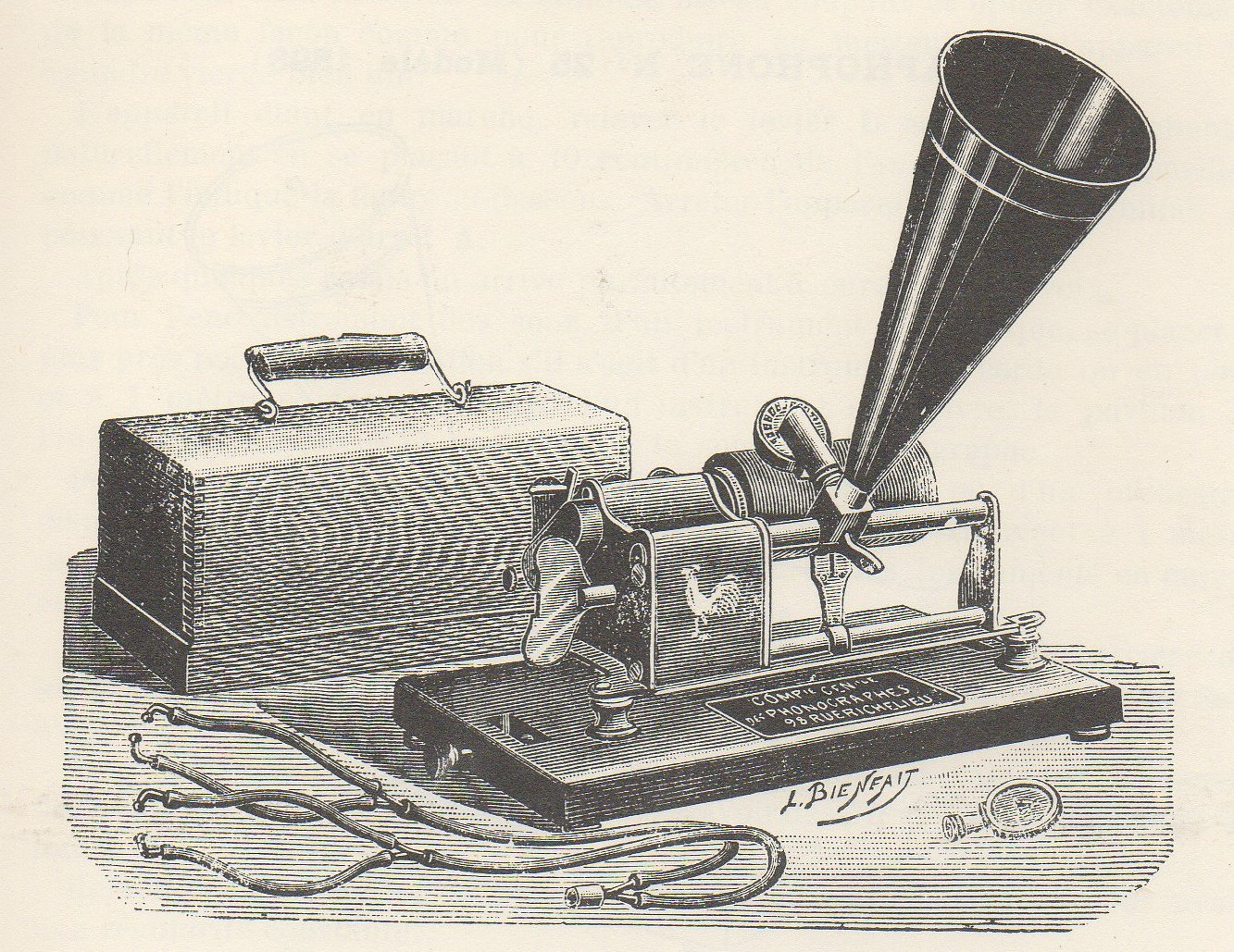 Old illustration of a phonograph.
