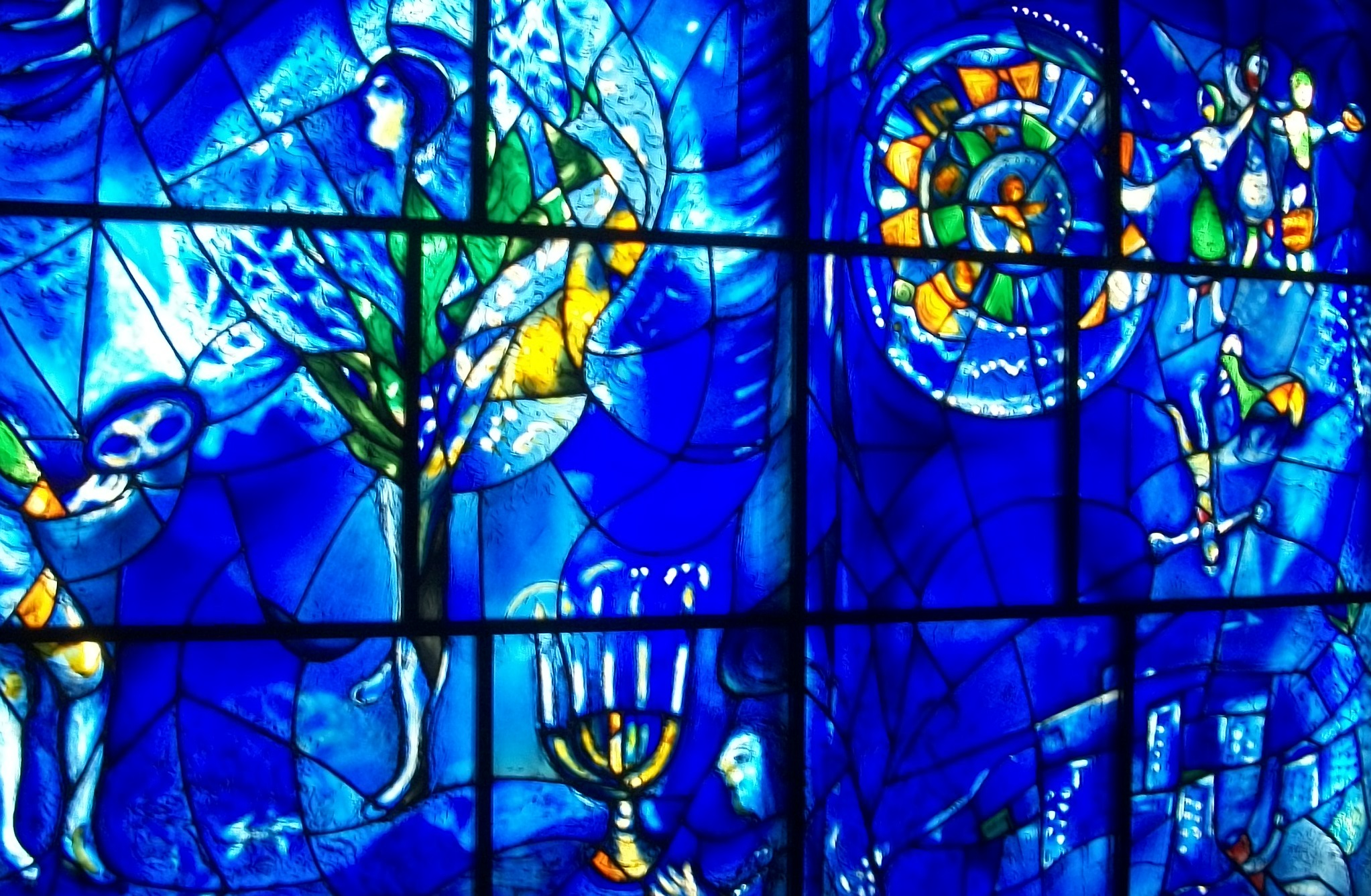 Close up picture of stained glass windows.