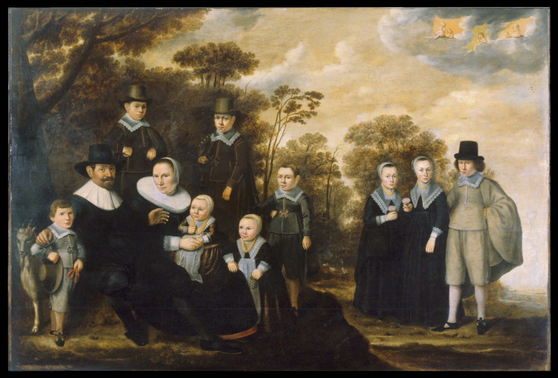 Painting of a pilgrim family.