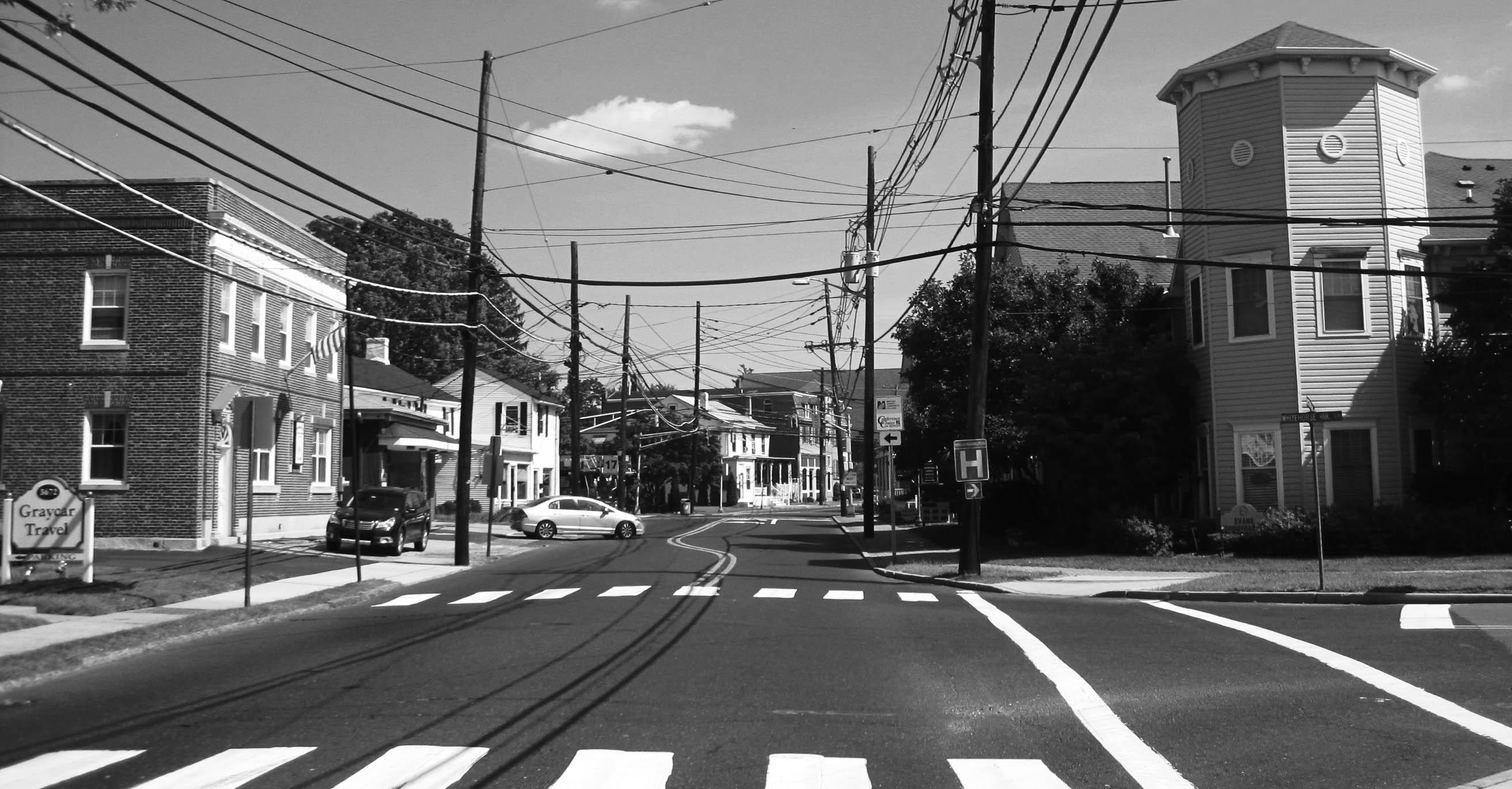 Black and white picture of Hamilton Square, NJ