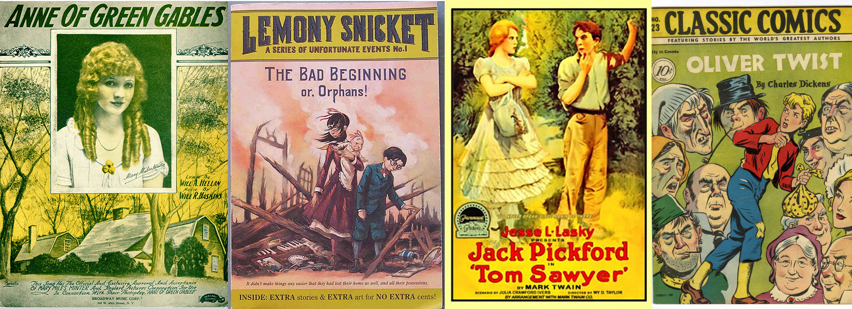Side by side book covers of books featuring orphans. The covers include Anne of Green Gables, A Series of Unfortunate Events, Tom Sawyer, and Oliver Twist