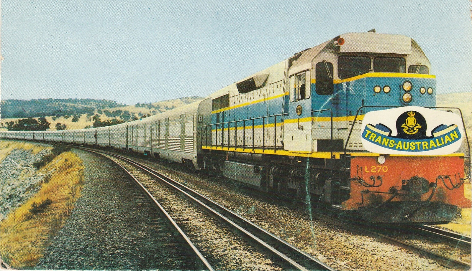 Old postcard with a picture of a Trans-Australian train