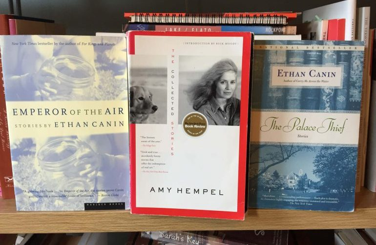 Picture of 3 books, Emperor of the Air by Ethan Canin, The Collected Stories by Amy Hempel, and The Palace Thief by Ethan Canin, standing up side by side