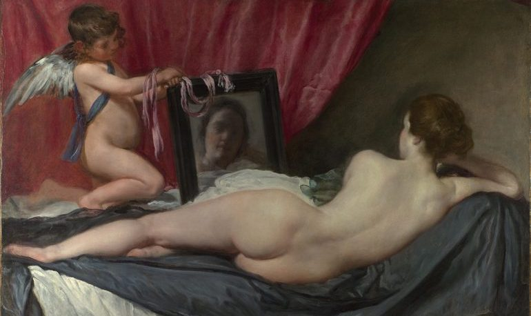 Painting of an angel holding up a mirror to a naked woman lying in bed