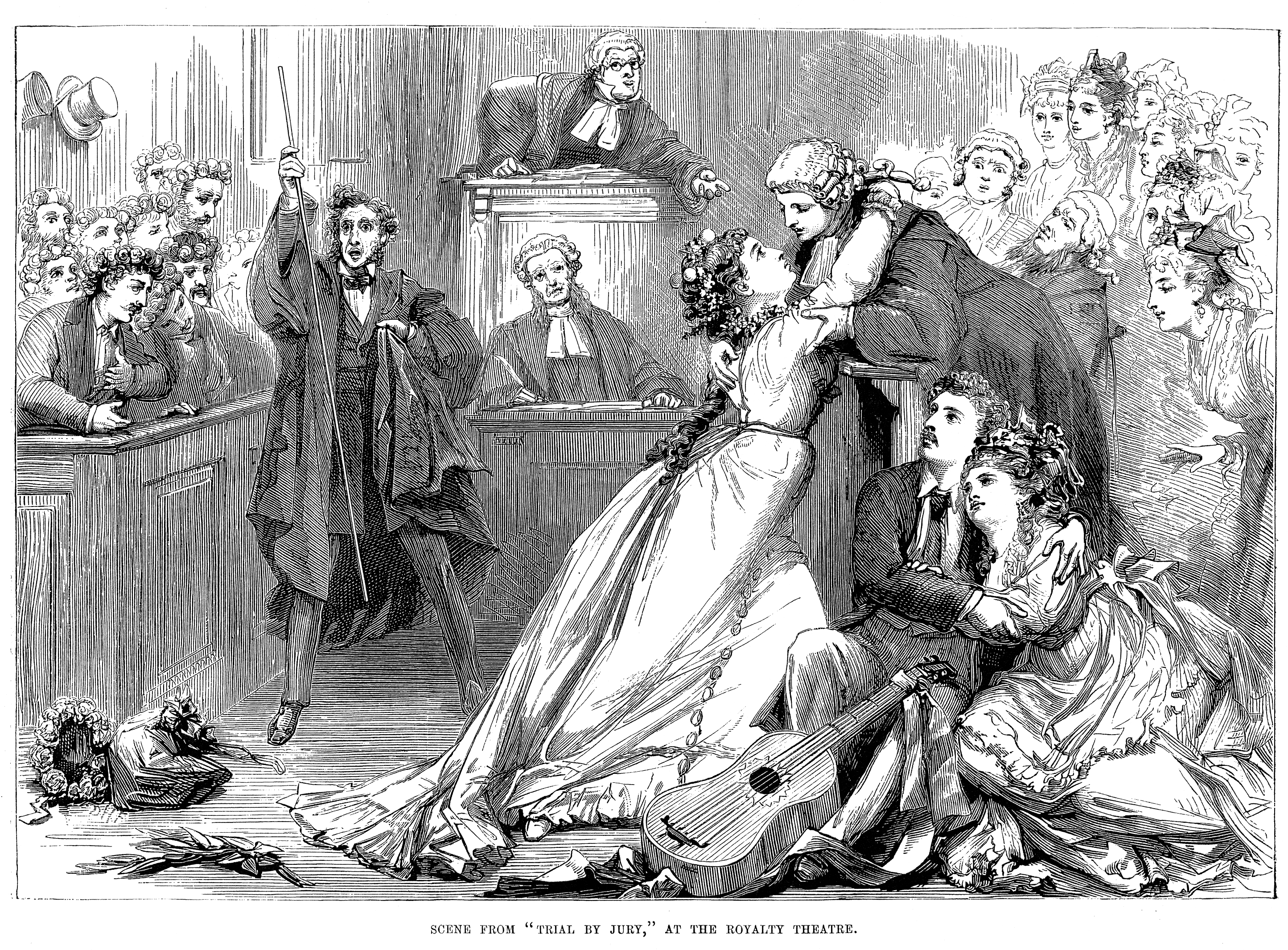 Black and white etching of a scene in a Jury