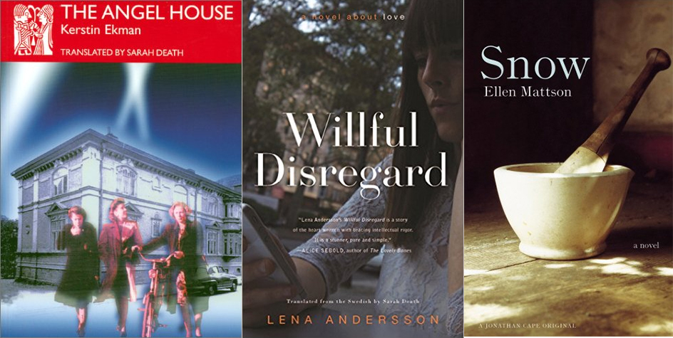 three book covers side by side, the books are The Angel House, Willful Disregard, and Snow