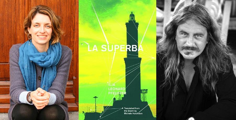 Side by side picture of Michelle Hutchison, the book cover of La Superba, and Ilja Leonard Pfeijffer